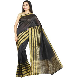 Parchayee Black Art Silk Plain Saree With Blouse