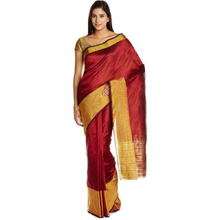 Parchayee Red Art Silk Plain Saree With Blouse