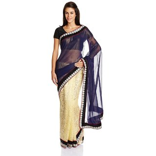 Satrang Blue Solid Georgette Saree With Blouse