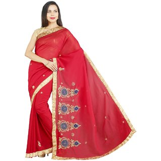 Satrang Red Embroidered Georgette Saree With Blouse