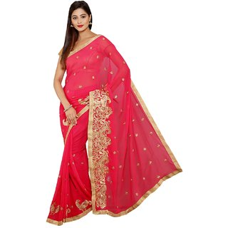 Parchayee Pink Chiffon Embroidered Saree With Blouse