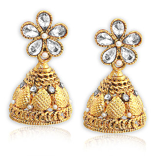 Spargz Floral Gold Plated AD Stone With Pearls Jhumka Earrings For Girls  Women AIER 672
