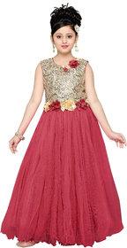Aarika Girls Blue Self Design Net Gown