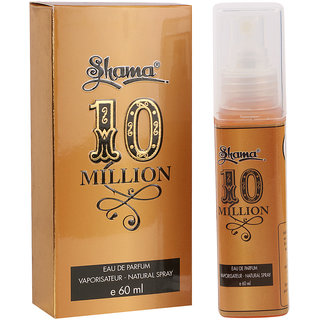 Shama 10 Million Series Alcohol Free, Undiluted Perfume For Men , 60 Ml Bottle - (Brand Outlet)