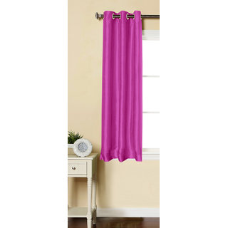 Lushomes Pink Dupion Silk Curtain with 6 plastic eyelets (Pack of 1) for Windows