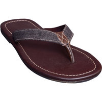 Suri Leather Stylish Cut-Out Slipper (13013G-BR)