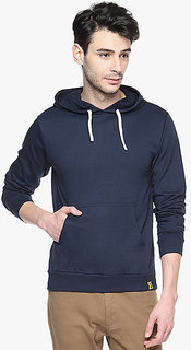 Navy Blue Solid Sweatshirt For Men