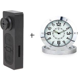 Spy Guru Combo Of Spy Button And Steel Table Clock Cameras