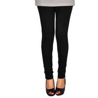 Luba Black Solid Plain Wool Leggings