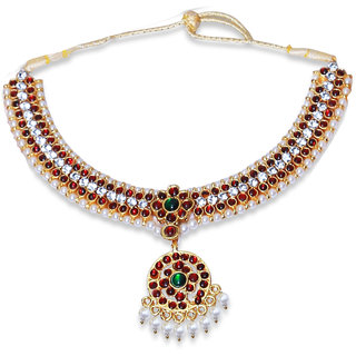 Imitation Kemp Green Stone With Pearl Dance Necklace From Usha Gold