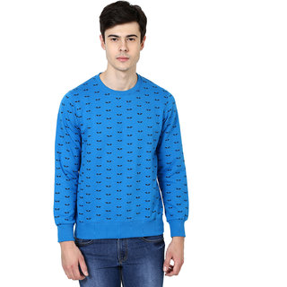 British Cross Blue Round Neck Long Sleeve Sweatshirt for Men
