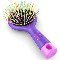 Detangling Brush With Mirror- No Tangle & Pain- Anti Static Soft Bristle- Massaging & Straightening Detangler- Rubberized Grip- Cool/ Cute Colors- Wet & Dry Detangle Comb- For All Hair Types (Purple)