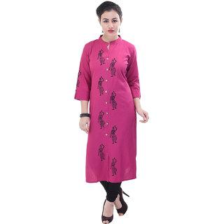 AZALEA 24 Pink Printed Cotton Kurti