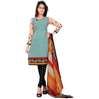 Aaina Green Polycotton Dress Material (SB-2855) (Unstitched)