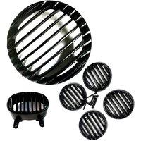 Combo Pack Heavy Metal Headlight Grill plus Indicator Grill set plus Tail Light Grill For Bajaj Avenger 220cc