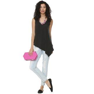 Fabrange Black Plain V-Neck Basic For Women