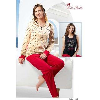 Buy Beautiful 3 pc Cotton nightsuit nightwear set with jacket ... 82e37e94f