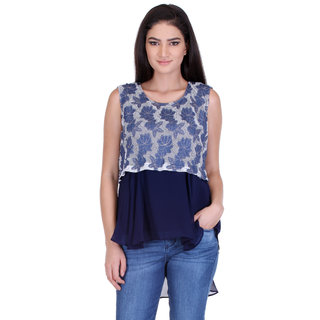 Goddess Women Blue Georgette Baby Doll Tops