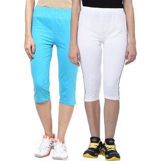 Espresso Women's Sportive Cotton Capris Pack of 2-Aqua/White