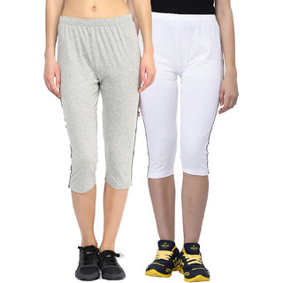 Espresso Women's Sportive Cotton Capris Pack of 2-Grey/White