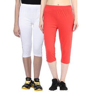Espresso Women's Sportive Cotton Capris Pack of 2-White/Lt.Red