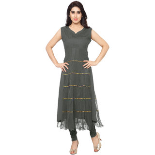 AHALYAA Gray Plain Net Stitched Kurti