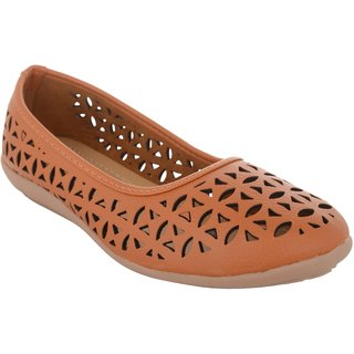 Exotique Women's Tan Ballerina Shoe (EL0056TN)