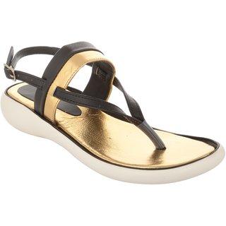 Exotique Women's Black/Gold Fashion Sandal (EL0057BK)