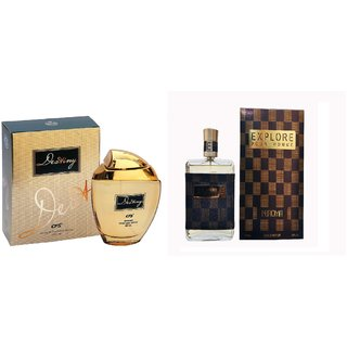 CFS Exotic Destiny Gold And Nuroma Explorer Brown Checks combo Perfume 200ML