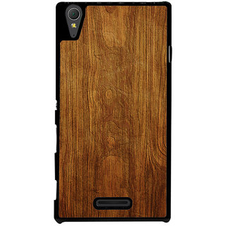 Ayaashii Wooden Finish Back Case Cover for Sony Xperia T3