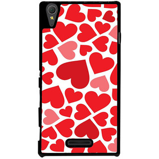 Ayaashii Red Hearts Back Case Cover for Sony Xperia T3