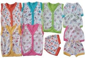 Sonpra Baby Cotton Cartoon Printed Baba Suits Jabla Bloomers Dress Combo Set