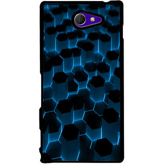 Ayaashii Hexagoan Pattern Back Case Cover for Sony Xperia M2 Dual D2302::Sony Xperia M2