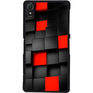 Ayaashii Black And Red Square Abstract Back Case Cover for Sony Xperia Z3::Sony Xperia Z3 D6653 D6603