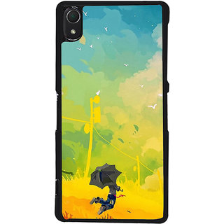 Ayaashii A Man With Umbrella Painting Back Case Cover for Sony Xperia Z2::Sony Xperia Z2 L50W D6502 D6503