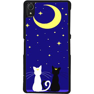 Ayaashii Two Cats With Moon Back Case Cover for Sony Xperia Z3::Sony Xperia Z3 D6653 D6603