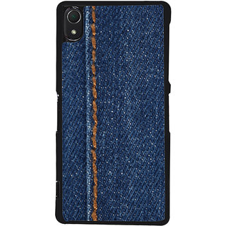 Ayaashii Jeans Cloth With Stich Back Case Cover for Sony Xperia Z3::Sony Xperia Z3 D6653 D6603