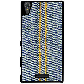 Ayaashii Jeans Cloth With Stich Back Case Cover for Sony Xperia T3