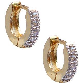 American Diamond Gold Plated Hoop Earring