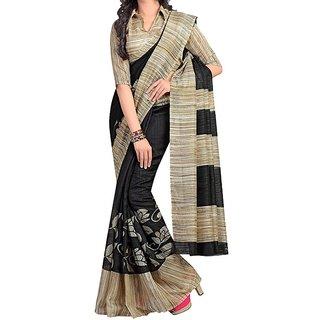Snapshopee woman's Printed Daily Wear Bhagalpuri  Saree(ARPITA GREY)