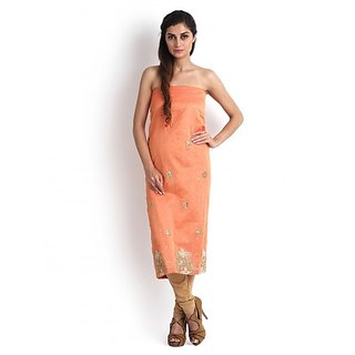 Peach Chanderi Silk Kurta with Gota Patti