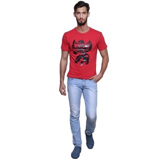 Craxy About Red Round Printed T-Shirt