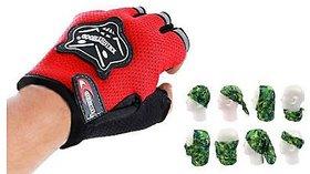 Combo Knighthood Half Gloves for Bike (Red) + Buff Headwear