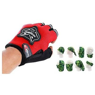 Combo Knighthood Half Gloves for Bike (Red) + Buff Headwear