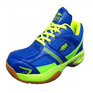 Port Mens Python Blue PU Badminton Shoes
