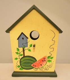 Roll over image to zoom in Wooden Candle Box Candle Holder with Decoration Windows, Birdhouse Hole Cutout and Standing