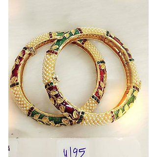 Jewellery Polki Bangles Royal Set with Meenakari White Stone