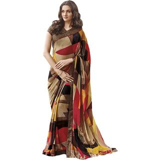 Roop Kashish Multicolor Crepe Self Design Saree With Blouse