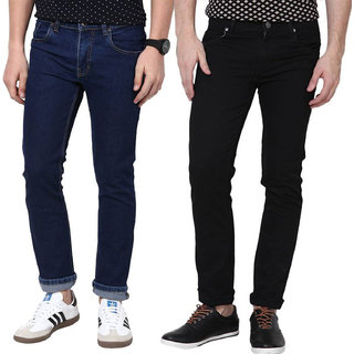 Stylox Men's Blue  Black Slim Fit Jeans (Pack of 2)