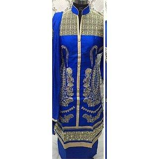 Women's Cotton Unstitched Salwar Suit Blue